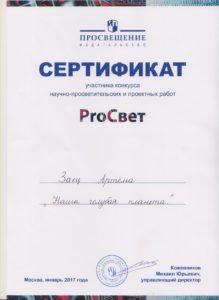 Всероссийском конкурсе проектных работ «ProСвет»